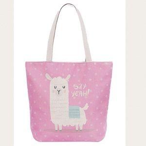 Llama Animal Print Canvas Tote Bag